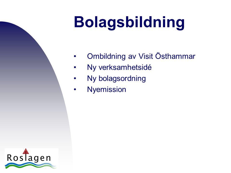 Bolagsbildning •Ombildning av Visit Östhammar •Ny verksamhetsidé •Ny bolagsordning •Nyemission
