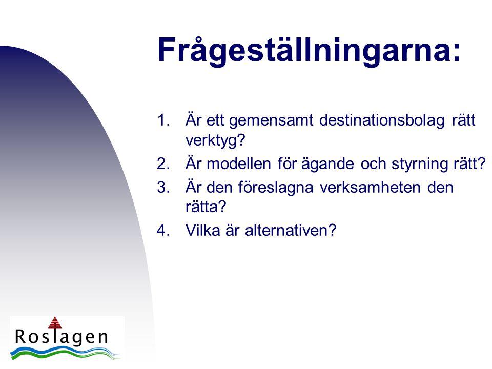 Frågeställningarna: 1.Är ett gemensamt destinationsbolag rätt verktyg? 2.Är modellen för ägande och styrning rätt? 3.Är den föreslagna verksamheten de