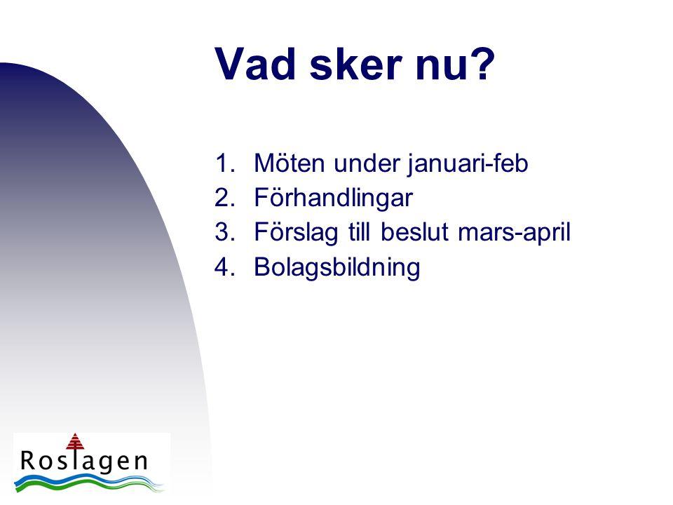 Vad sker nu? 1.Möten under januari-feb 2.Förhandlingar 3.Förslag till beslut mars-april 4.Bolagsbildning