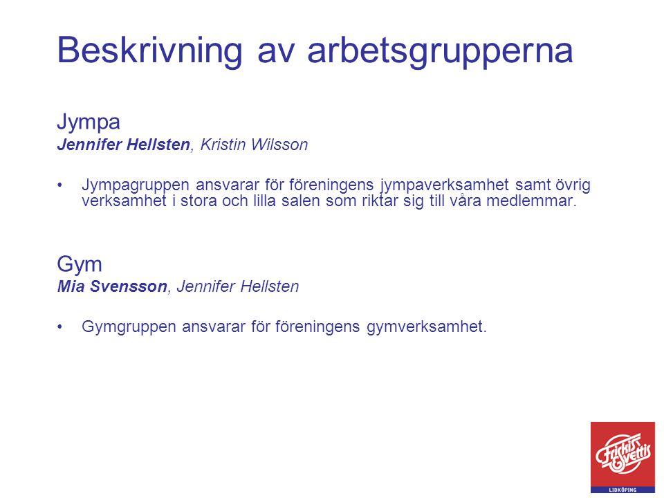 Beskrivning av arbetsgrupperna Jympa Jennifer Hellsten, Kristin Wilsson •Jympagruppen ansvarar för föreningens jympaverksamhet samt övrig verksamhet i