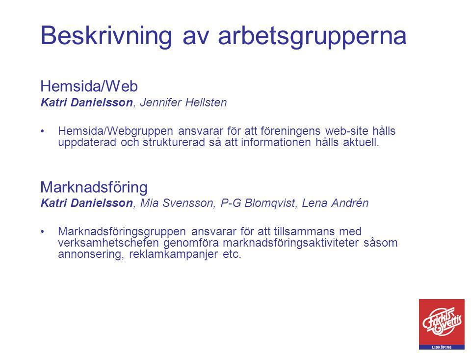Beskrivning av arbetsgrupperna Hemsida/Web Katri Danielsson, Jennifer Hellsten •Hemsida/Webgruppen ansvarar för att föreningens web-site hålls uppdate