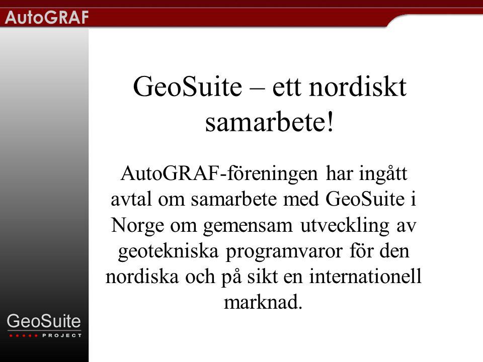 GeoSuite-projektet i Norge är… •ett samarbetsprojekt mellan geotekniska konsulter i Norge.