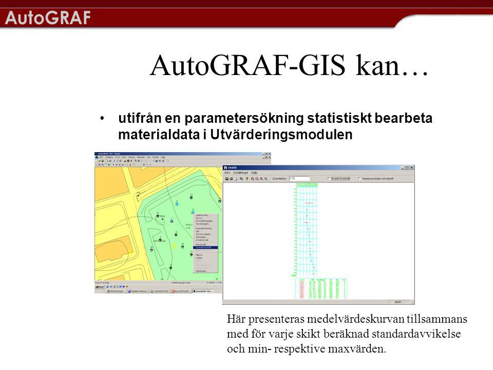 AutoGRAF-GIS kan… •utifrån en parametersökning statistiskt bearbeta materialdata i Utvärderingsmodulen Här presenteras medelvärdeskurvan tillsammans med för varje skikt beräknad standardavvikelse och min- respektive maxvärden.