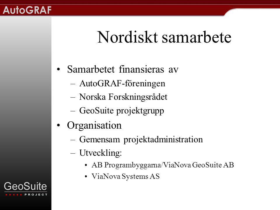 ViaNova GeoSuite AB •Ägare: –AB Programbyggarna –ViaNova Systems AS –Personal •Styrelse –Personal –ViaNova Systems AS –AutoGRAF-föreningen –GeoSuite Norge