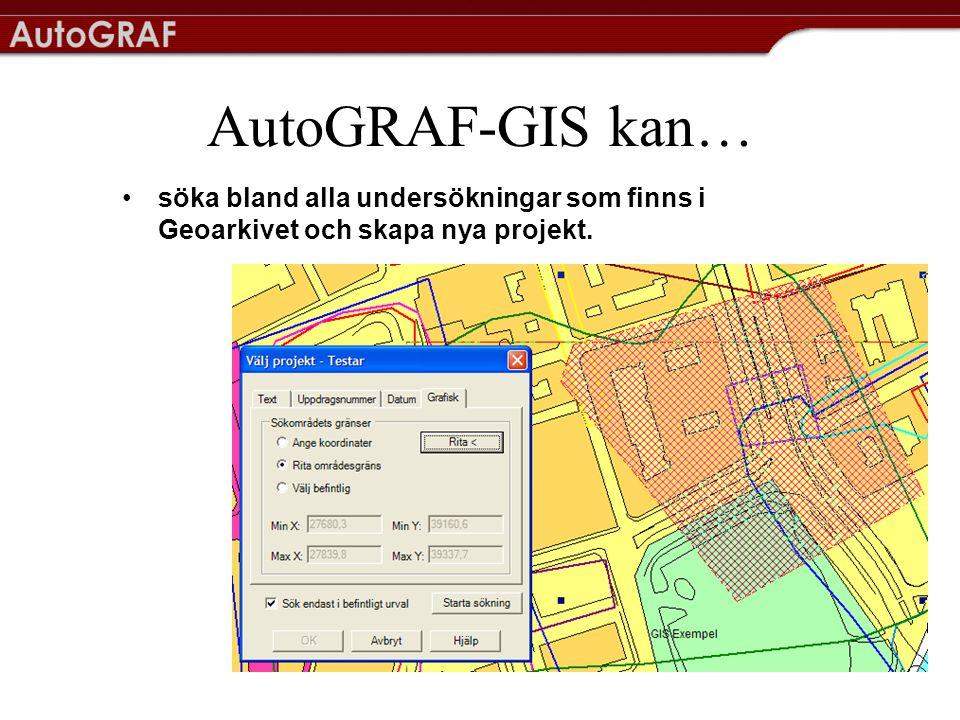 AutoGRAF-GIS kan… •enkelt söka på geoteknisk data såsom metod, jordart, hållfasthet, sensitivitet med hjälp av parametersökningen Du kan söka på flera parametrar och kombinationer mellan dem samtidigt som t ex låg hållfasthet och hög sensitivitet.