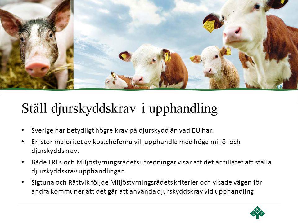 Ställ djurskyddskrav i upphandling • Sverige har betydligt högre krav på djurskydd än vad EU har. • En stor majoritet av kostcheferna vill upphandla m