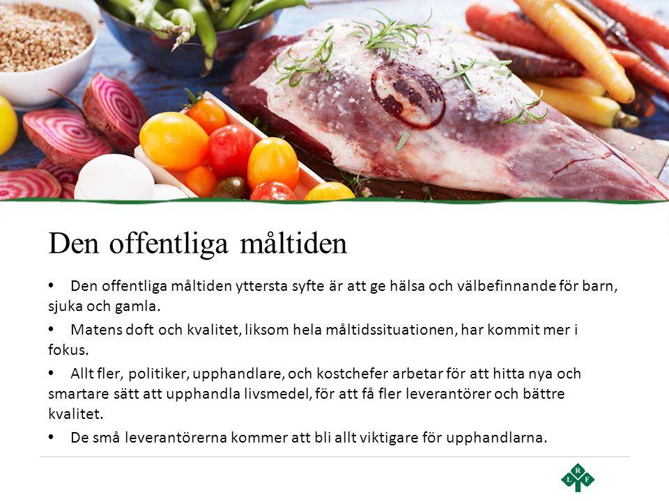 Den offentliga måltiden • Den offentliga måltiden yttersta syfte är att ge hälsa och välbefinnande för barn, sjuka och gamla. • Matens doft och kvalit