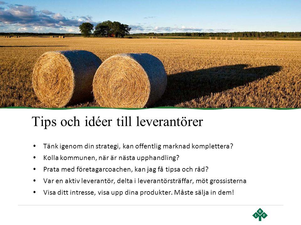 Tips och idéer till leverantörer • Tänk igenom din strategi, kan offentlig marknad komplettera? • Kolla kommunen, när är nästa upphandling? • Prata me