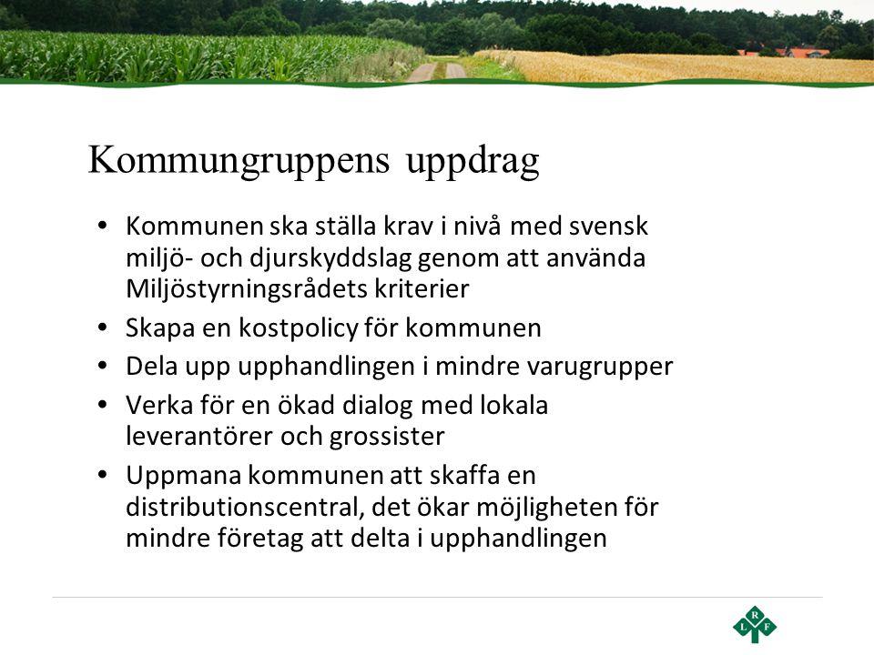 Kommungruppens uppdrag • Kommunen ska ställa krav i nivå med svensk miljö- och djurskyddslag genom att använda Miljöstyrningsrådets kriterier • Skapa