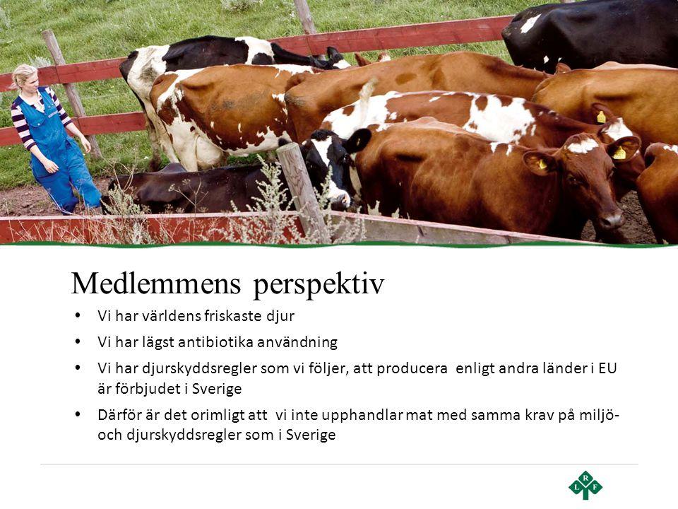 Medlemmens perspektiv • Vi har världens friskaste djur • Vi har lägst antibiotika användning • Vi har djurskyddsregler som vi följer, att producera en
