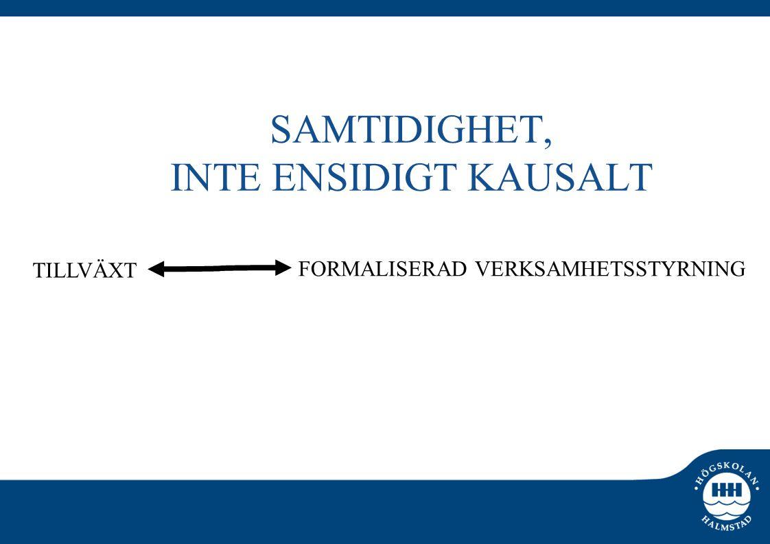 SAMTIDIGHET, INTE ENSIDIGT KAUSALT TILLVÄXT FORMALISERAD VERKSAMHETSSTYRNING