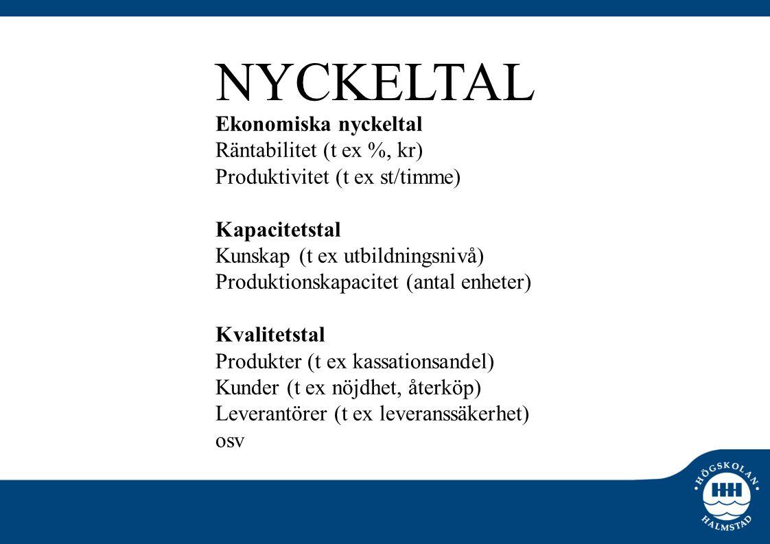 Ekonomiska nyckeltal Räntabilitet (t ex %, kr) Produktivitet (t ex st/timme) Kapacitetstal Kunskap (t ex utbildningsnivå) Produktionskapacitet (antal