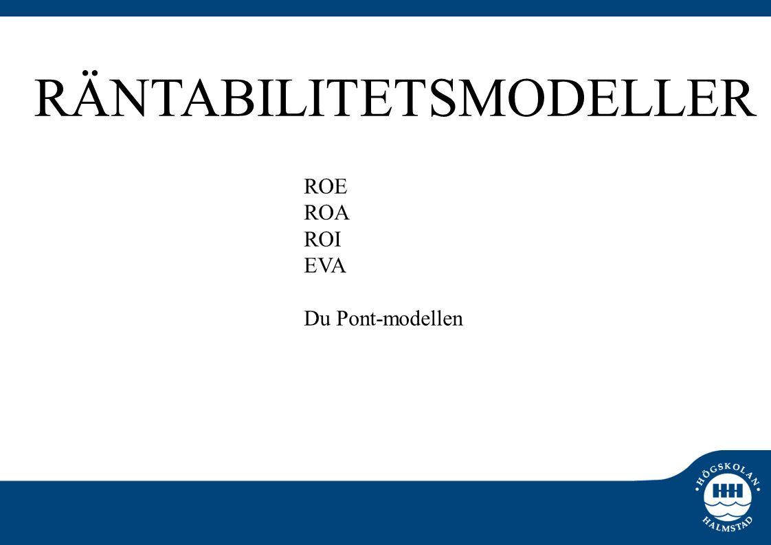 ROE ROA ROI EVA Du Pont-modellen RÄNTABILITETSMODELLER