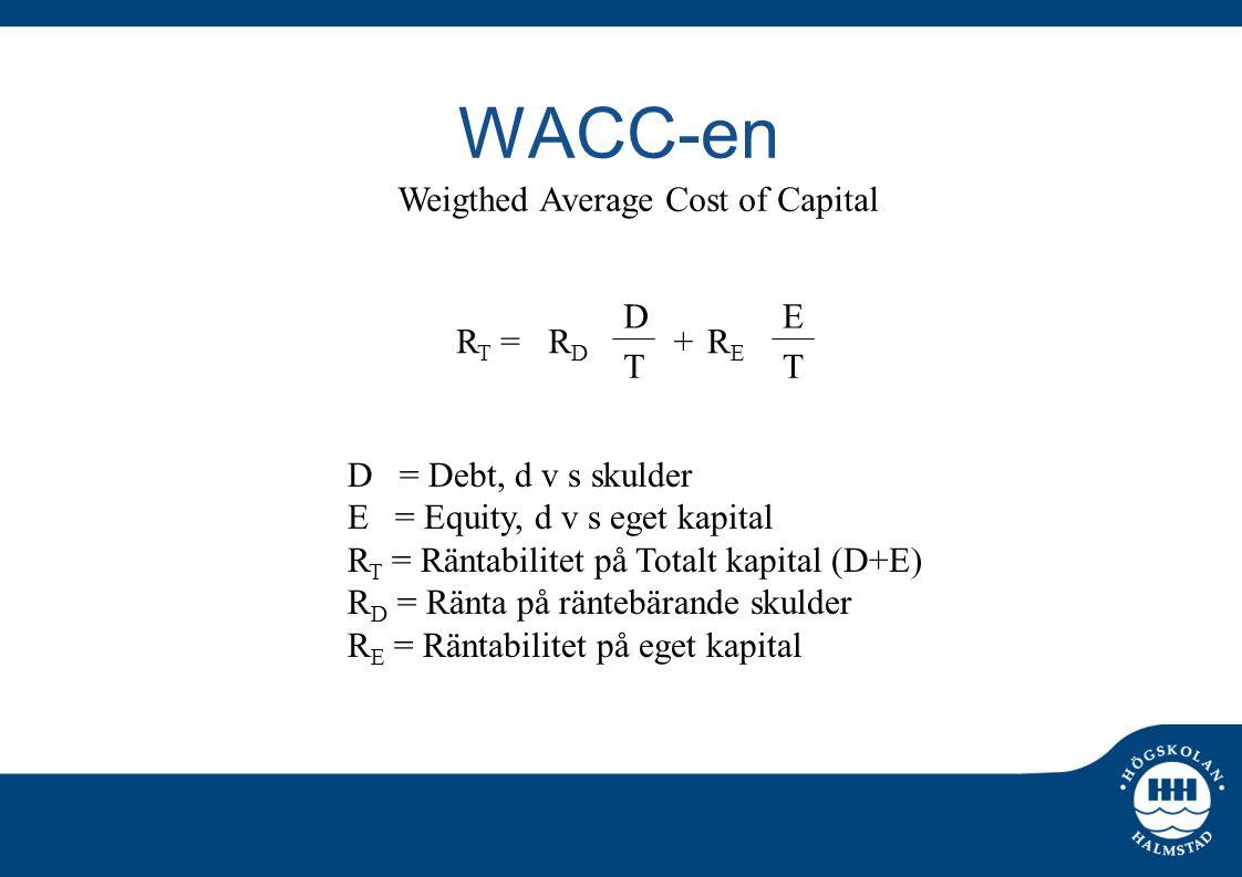 WACC-en D = Debt, d v s skulder E = Equity, d v s eget kapital R T = Räntabilitet på Totalt kapital (D+E) R D = Ränta på räntebärande skulder R E = Rä