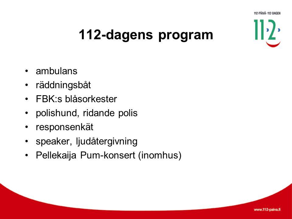 112-dagens program •ambulans •räddningsbåt •FBK:s blåsorkester •polishund, ridande polis •responsenkät •speaker, ljudåtergivning •Pellekaija Pum-konsert (inomhus)