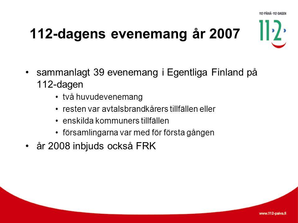 112-dagens evenemang år 2007 •sammanlagt 39 evenemang i Egentliga Finland på 112-dagen •två huvudevenemang •resten var avtalsbrandkårers tillfällen eller •enskilda kommuners tillfällen •församlingarna var med för första gången •år 2008 inbjuds också FRK