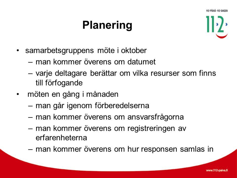 Planering •samarbetsgruppens möte i oktober –man kommer överens om datumet –varje deltagare berättar om vilka resurser som finns till förfogande • möt