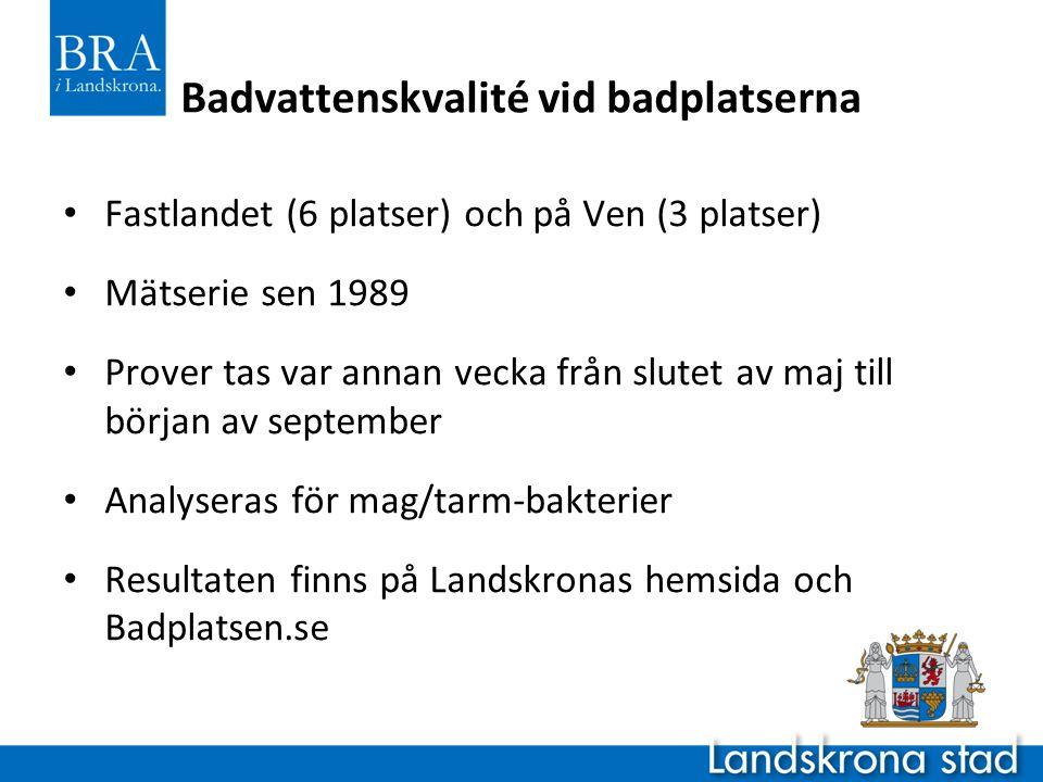 Badvattenskvalité vid badplatserna • Fastlandet (6 platser) och på Ven (3 platser) • Mätserie sen 1989 • Prover tas var annan vecka från slutet av maj till början av september • Analyseras för mag/tarm-bakterier • Resultaten finns på Landskronas hemsida och Badplatsen.se