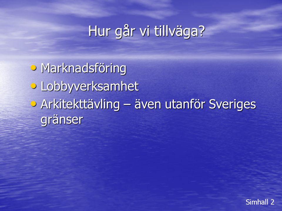 Hur går vi tillväga? Simhall 2 • Marknadsföring • Lobbyverksamhet • Arkitekttävling – även utanför Sveriges gränser
