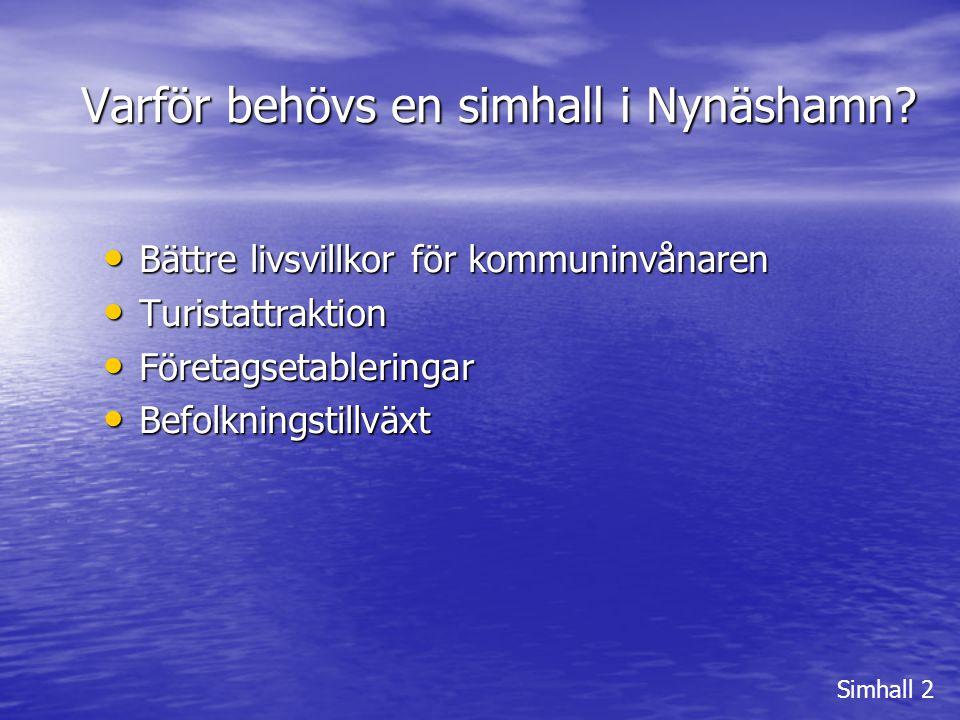 Varför behövs en simhall i Nynäshamn? Simhall 2 • Bättre livsvillkor för kommuninvånaren • Turistattraktion • Företagsetableringar • Befolkningstillvä