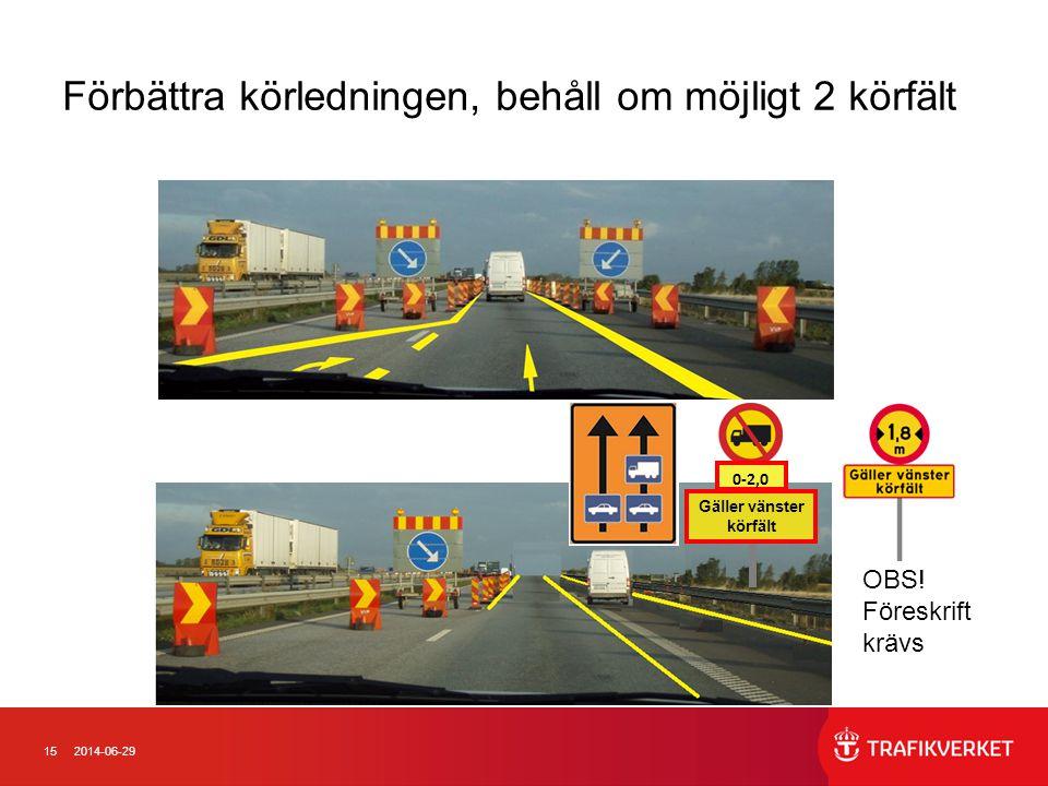 152014-06-29 OBS! Föreskrift krävs Förbättra körledningen, behåll om möjligt 2 körfält 0-2,0 km Gäller vänster körfält