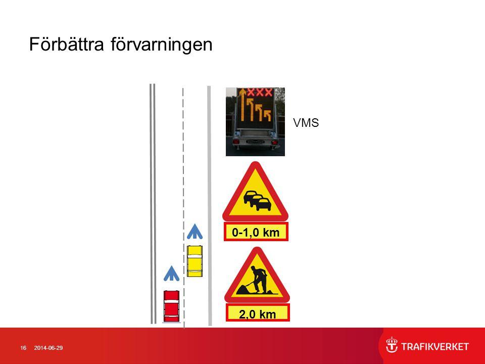 162014-06-29 0-1,0 km 2,0 km VMS Förbättra förvarningen