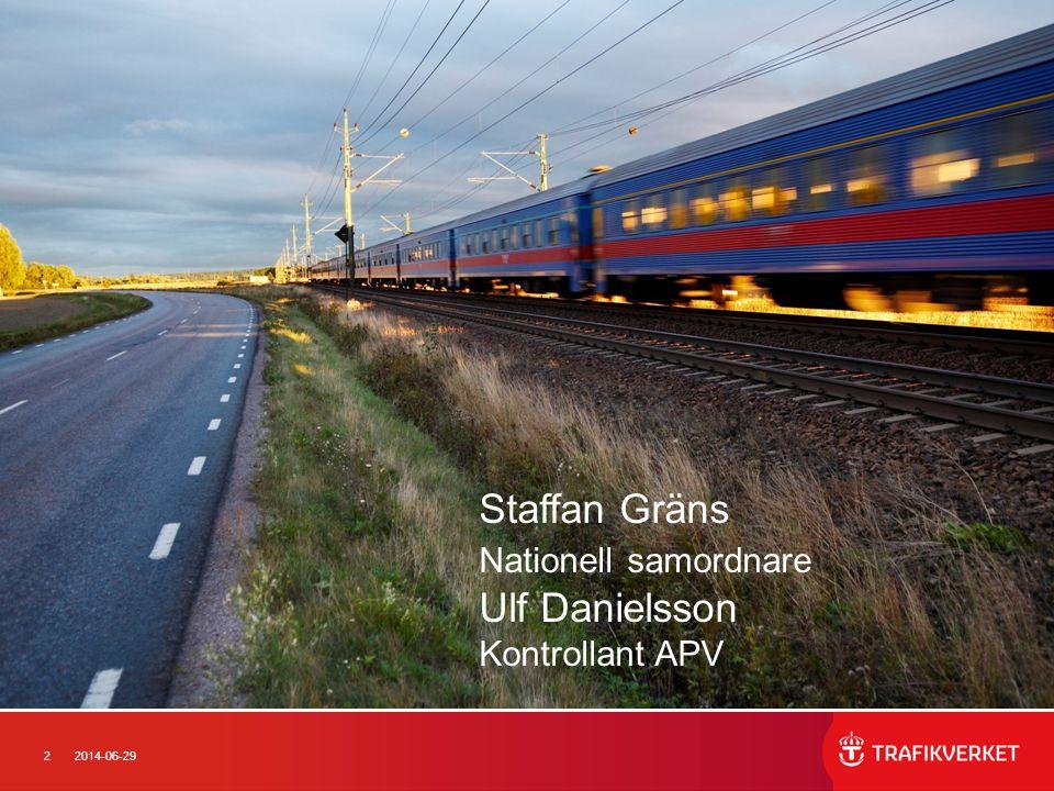 22014-06-29 Staffan Gräns Nationell samordnare Ulf Danielsson Kontrollant APV