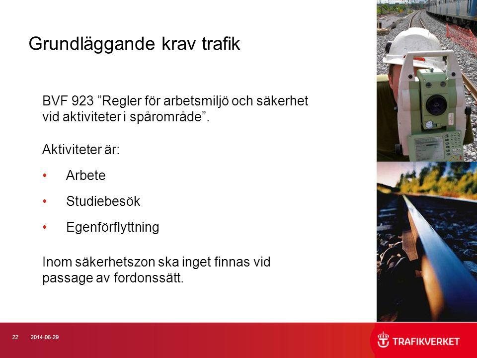 """222014-06-29 Grundläggande krav trafik BVF 923 """"Regler för arbetsmiljö och säkerhet vid aktiviteter i spårområde"""". Aktiviteter är: •Arbete •Studiebesö"""