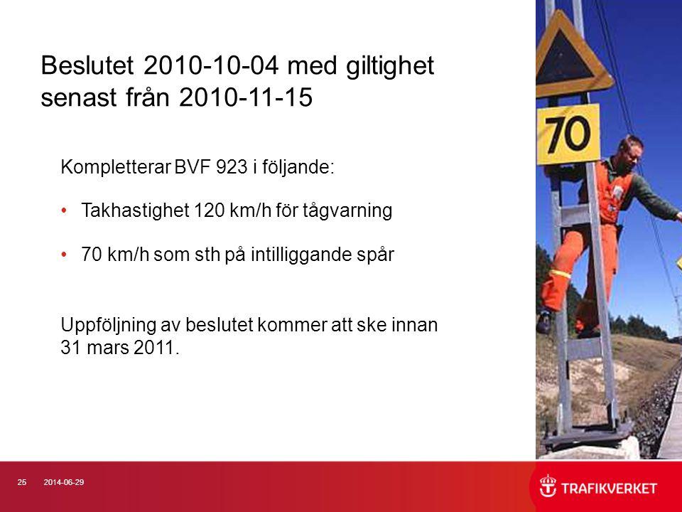252014-06-29 Kompletterar BVF 923 i följande: •Takhastighet 120 km/h för tågvarning •70 km/h som sth på intilliggande spår Uppföljning av beslutet kom