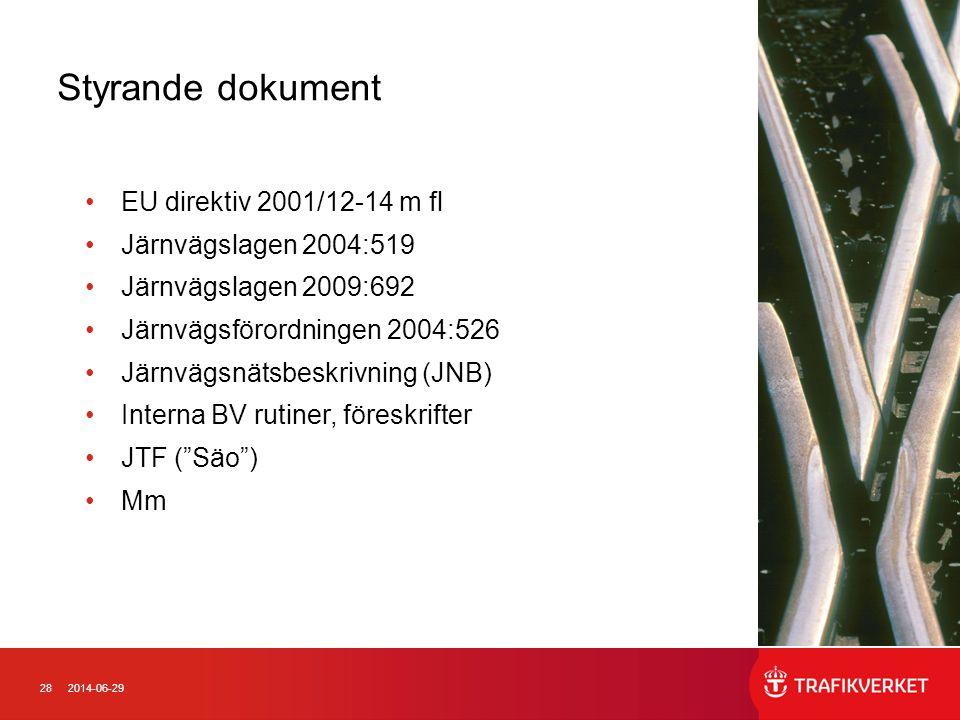 282014-06-29 •EU direktiv 2001/12-14 m fl •Järnvägslagen 2004:519 •Järnvägslagen 2009:692 •Järnvägsförordningen 2004:526 •Järnvägsnätsbeskrivning (JNB