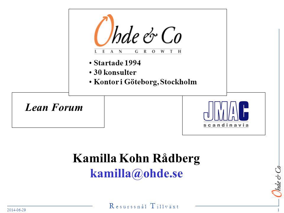 R e s u r s s n å l T i l l v ä x t 2014-06-291 Lean Forum • Startade 1994 • 30 konsulter • Kontor i Göteborg, Stockholm Kamilla Kohn Rådberg kamilla@