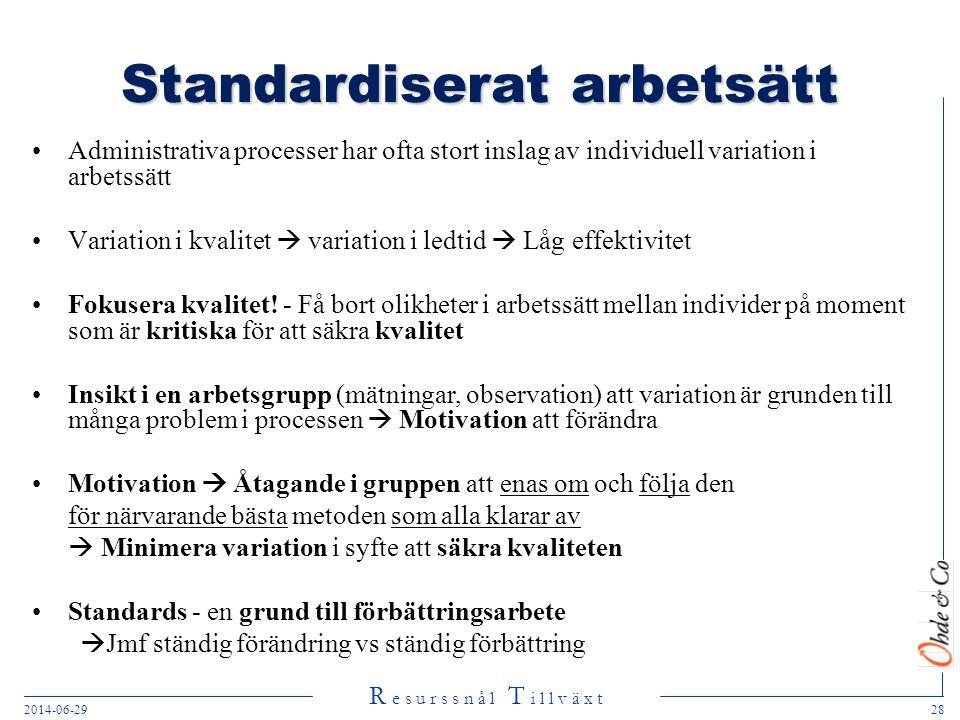 R e s u r s s n å l T i l l v ä x t 2014-06-2928 Standardiserat arbetsätt •Administrativa processer har ofta stort inslag av individuell variation i a