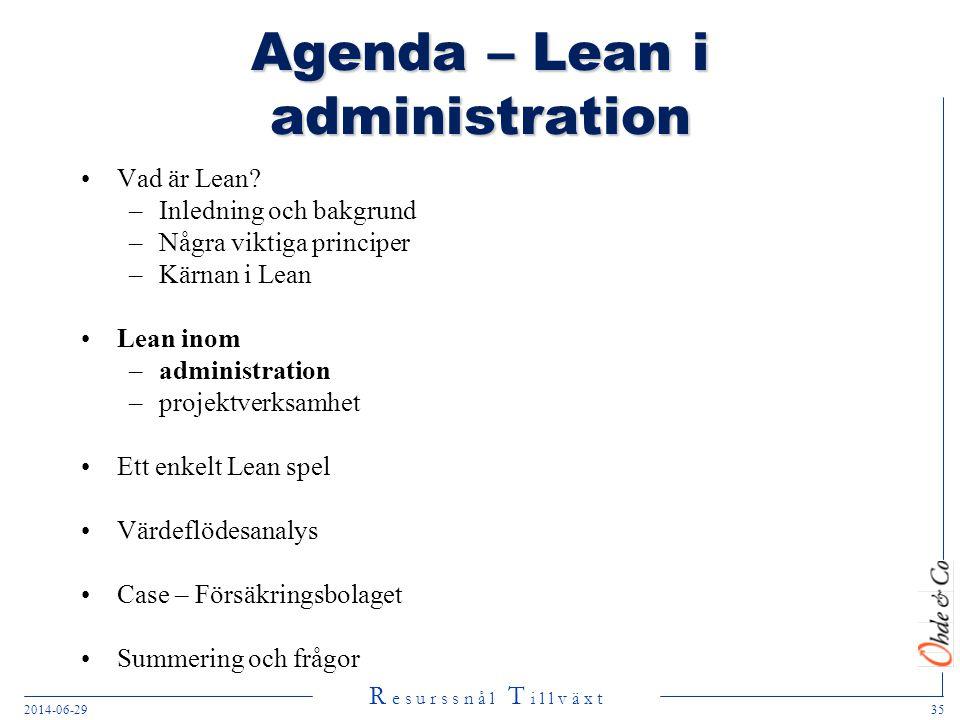 R e s u r s s n å l T i l l v ä x t 2014-06-2935 Agenda – Lean i administration •Vad är Lean? –Inledning och bakgrund –Några viktiga principer –Kärnan
