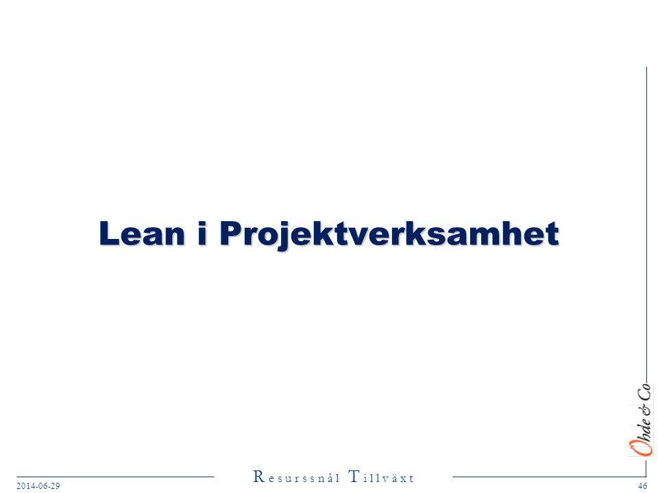 R e s u r s s n å l T i l l v ä x t 2014-06-2946 Lean i Projektverksamhet
