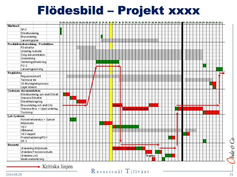 R e s u r s s n å l T i l l v ä x t 2014-06-2951 Flödesbild – Projekt xxxx Kritiska linjen