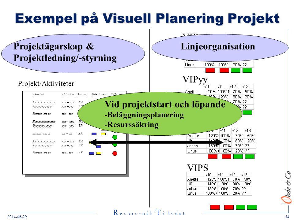 R e s u r s s n å l T i l l v ä x t 2014-06-2954 VIPyy Exempel på Visuell Planering Projekt Projekt/Aktiviteter Aktivitet Tidsplan AnsvarMilestones RA