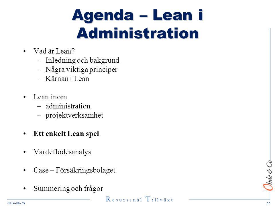 R e s u r s s n å l T i l l v ä x t 2014-06-2955 Agenda – Lean i Administration •Vad är Lean? –Inledning och bakgrund –Några viktiga principer –Kärnan