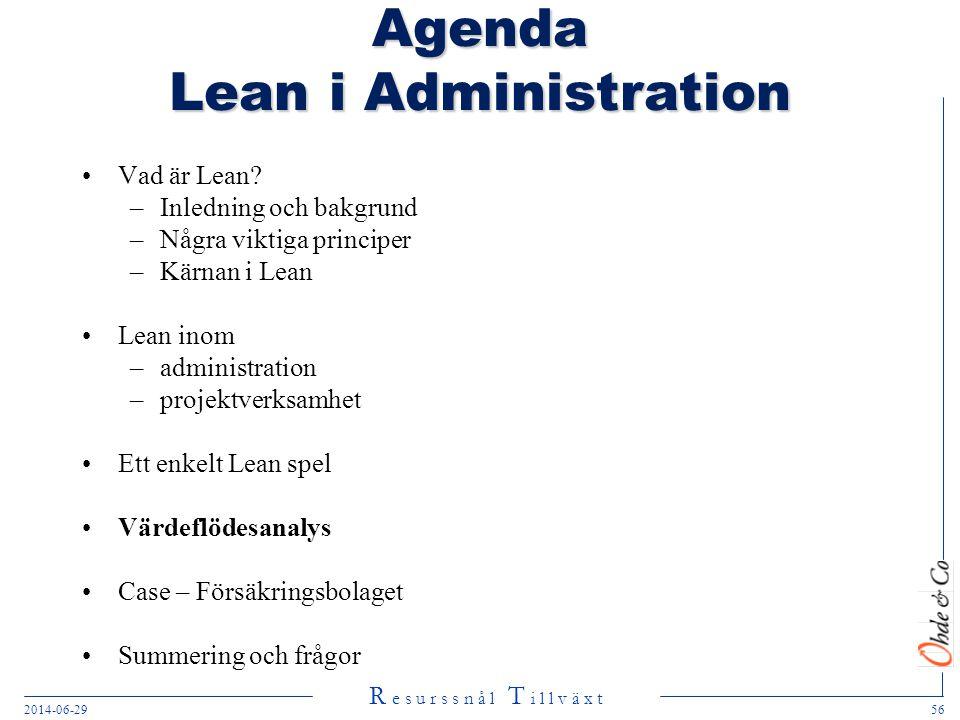 R e s u r s s n å l T i l l v ä x t 2014-06-2956 Agenda Lean i Administration •Vad är Lean? –Inledning och bakgrund –Några viktiga principer –Kärnan i