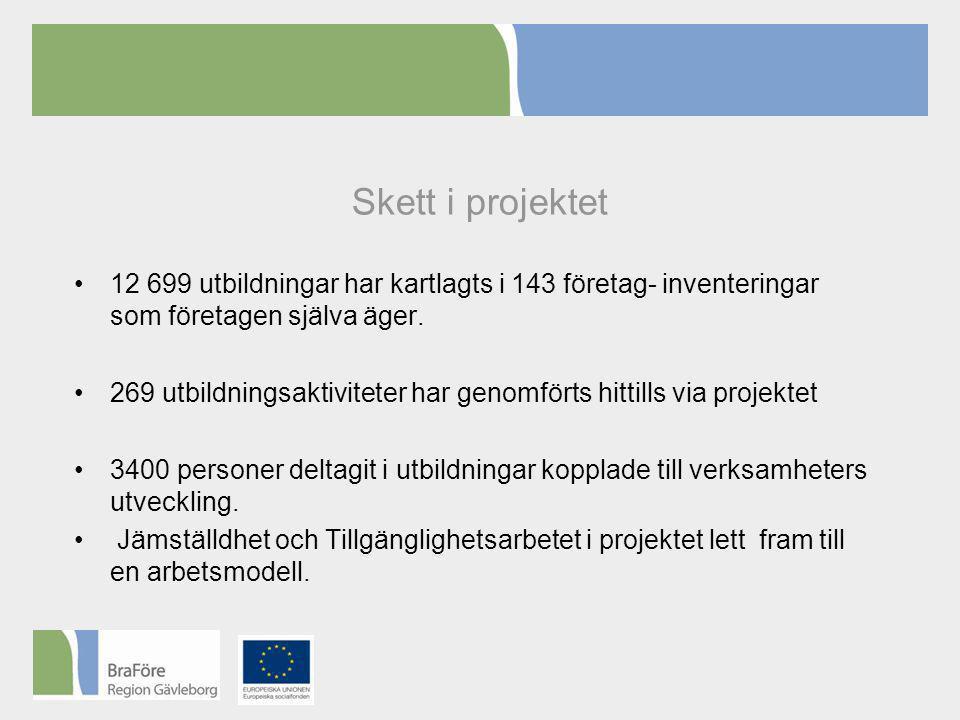Skett i projektet •12 699 utbildningar har kartlagts i 143 företag- inventeringar som företagen själva äger.