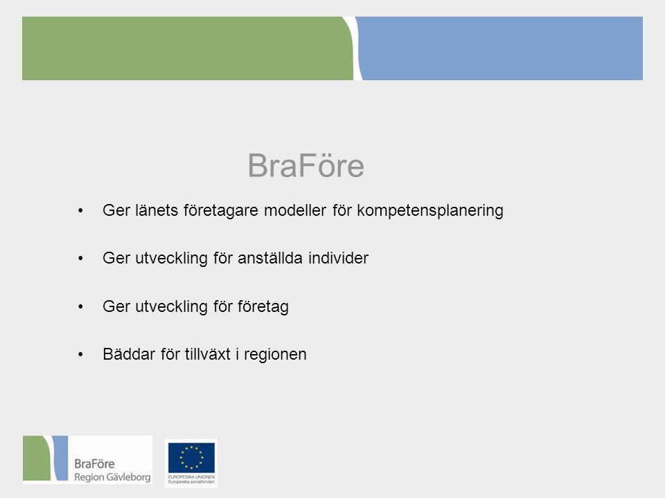BraFöre •Ger länets företagare modeller för kompetensplanering •Ger utveckling för anställda individer •Ger utveckling för företag •Bäddar för tillväxt i regionen