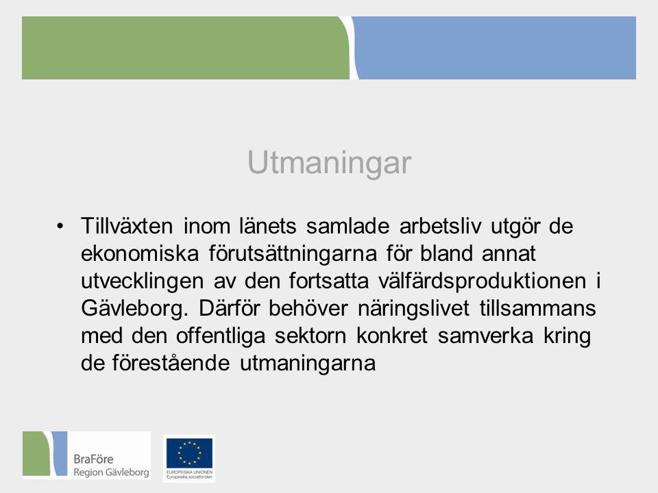 Utmaningar •Tillväxten inom länets samlade arbetsliv utgör de ekonomiska förutsättningarna för bland annat utvecklingen av den fortsatta välfärdsproduktionen i Gävleborg.