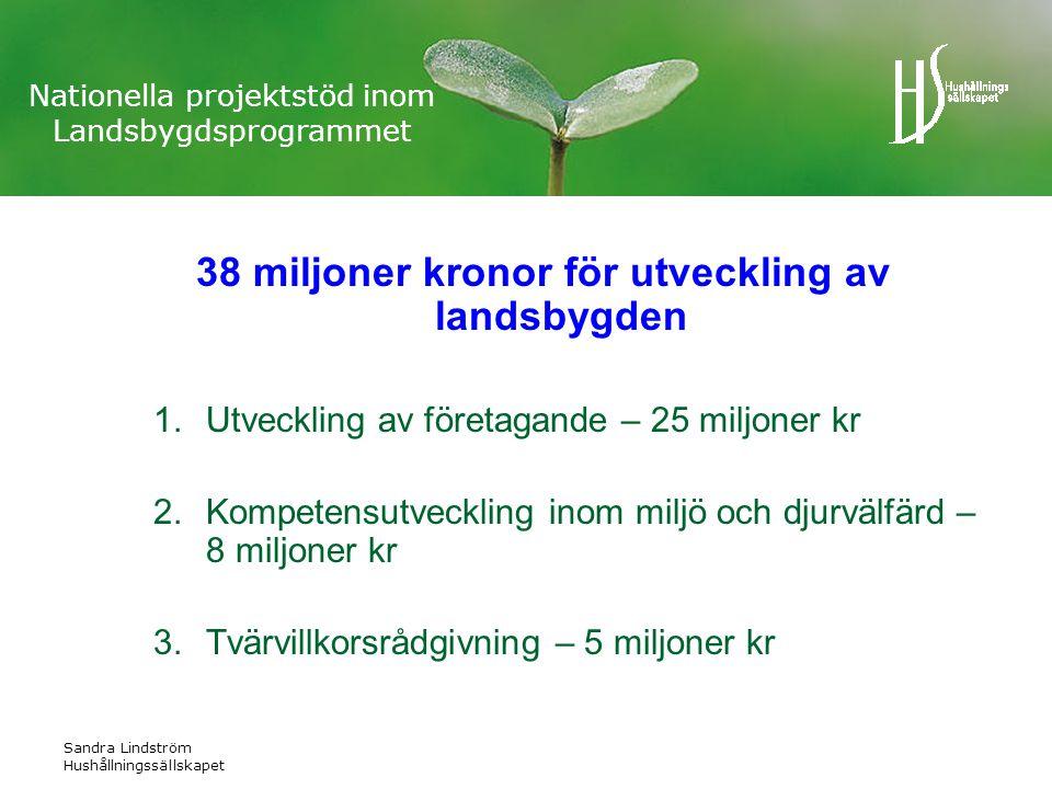 Sandra Lindström Hushållningssällskapet Nationella projektstöd inom Landsbygdsprogrammet 38 miljoner kronor för utveckling av landsbygden 1.Utveckling av företagande – 25 miljoner kr 2.Kompetensutveckling inom miljö och djurvälfärd – 8 miljoner kr 3.Tvärvillkorsrådgivning – 5 miljoner kr