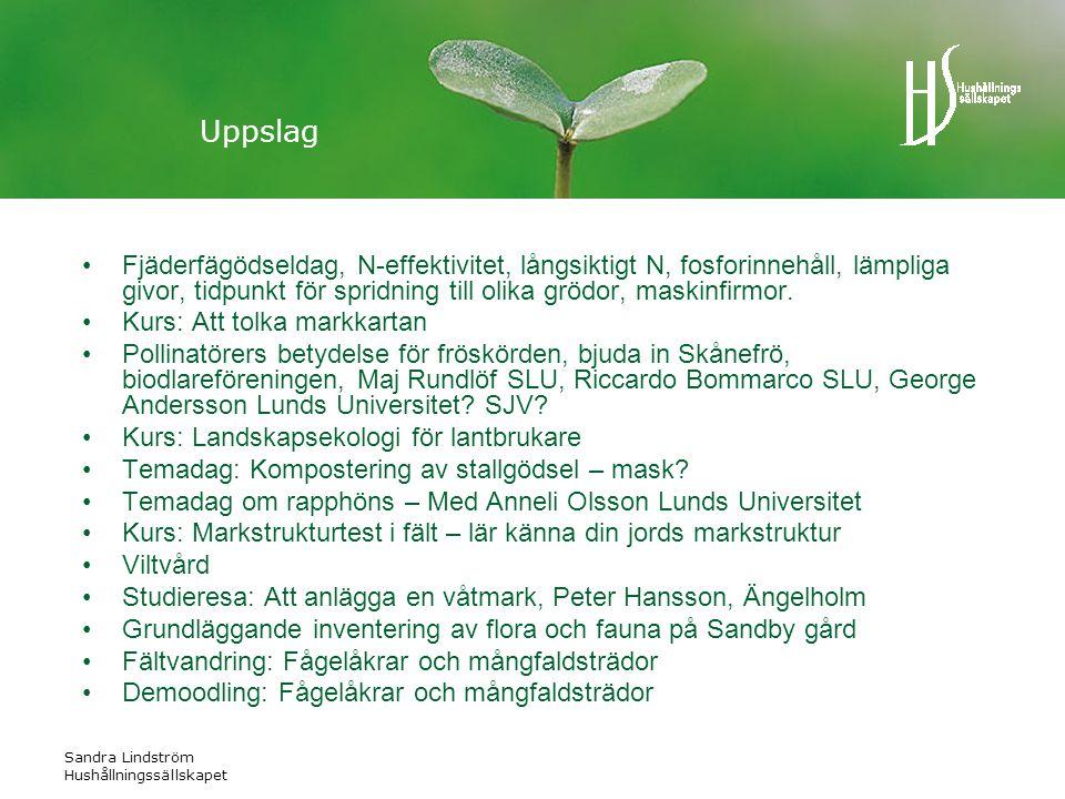 Sandra Lindström Hushållningssällskapet Uppslag •Fjäderfägödseldag, N-effektivitet, långsiktigt N, fosforinnehåll, lämpliga givor, tidpunkt för spridning till olika grödor, maskinfirmor.