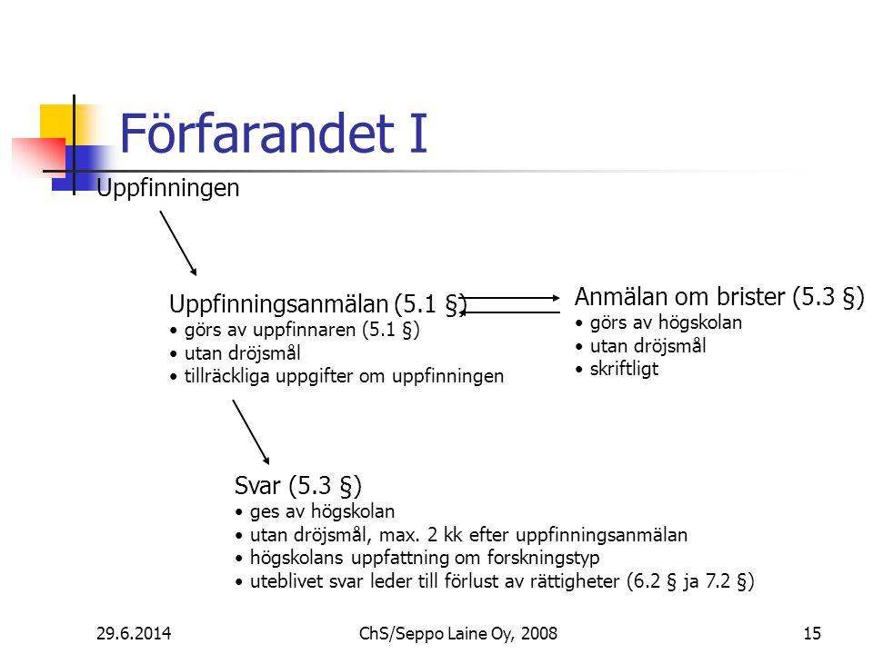 Förfarandet I 29.6.201415ChS/Seppo Laine Oy, 2008 Uppfinningen Uppfinningsanmälan (5.1 §) • görs av uppfinnaren (5.1 §) • utan dröjsmål • tillräckliga uppgifter om uppfinningen Anmälan om brister (5.3 §) • görs av högskolan • utan dröjsmål • skriftligt Svar (5.3 §) • ges av högskolan • utan dröjsmål, max.