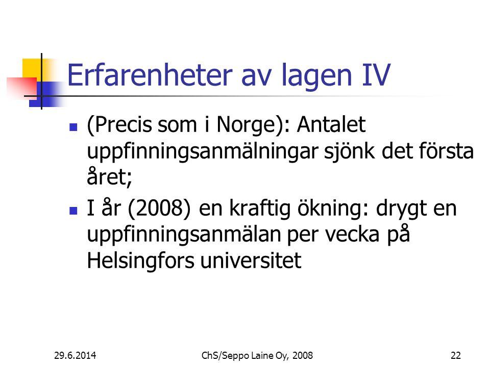Erfarenheter av lagen IV  (Precis som i Norge): Antalet uppfinningsanmälningar sjönk det första året;  I år (2008) en kraftig ökning: drygt en uppfinningsanmälan per vecka på Helsingfors universitet 29.6.201422ChS/Seppo Laine Oy, 2008
