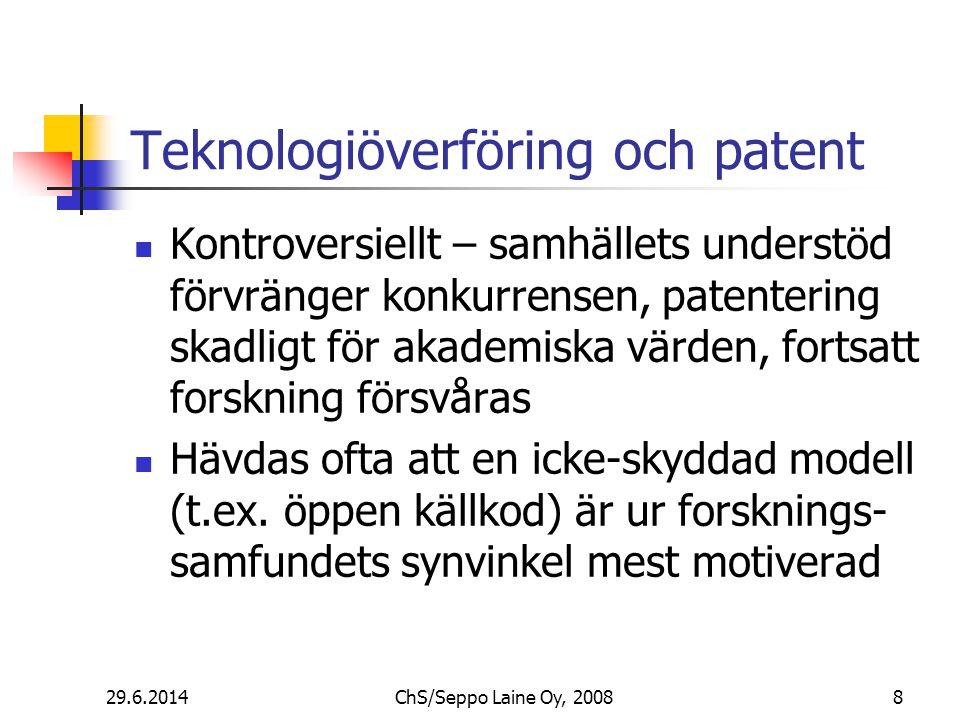 Teknologiöverföring och patent  Kontroversiellt – samhällets understöd förvränger konkurrensen, patentering skadligt för akademiska värden, fortsatt forskning försvåras  Hävdas ofta att en icke-skyddad modell (t.ex.