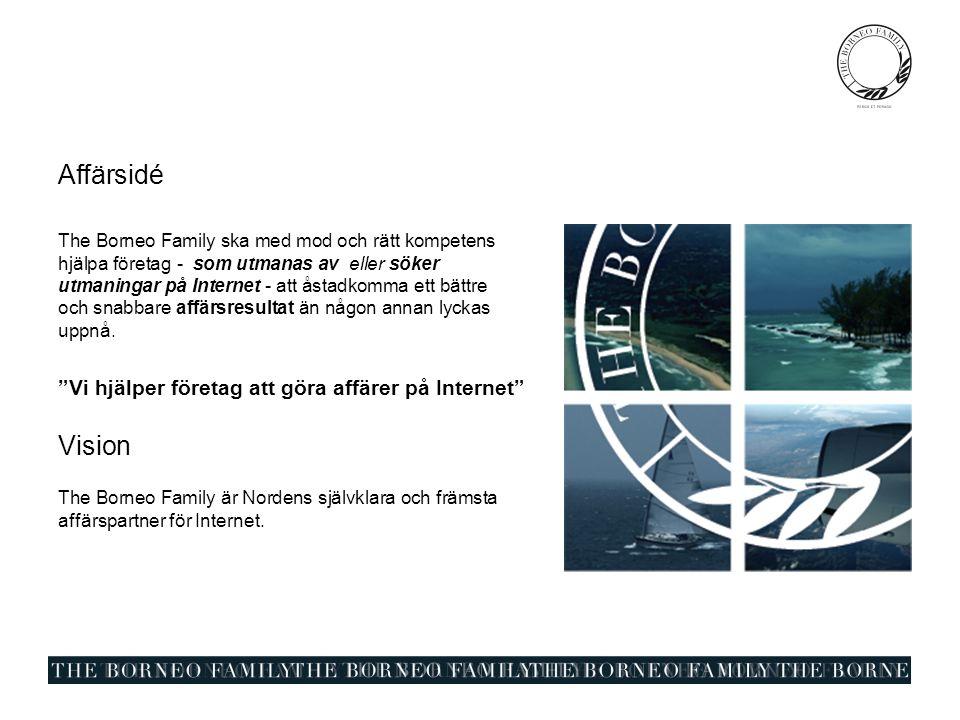 Affärsidé The Borneo Family ska med mod och rätt kompetens hjälpa företag - som utmanas av eller söker utmaningar på Internet - att åstadkomma ett bättre och snabbare affärsresultat än någon annan lyckas uppnå.