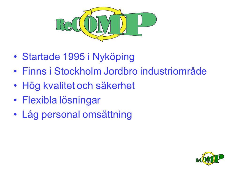 •Startade 1995 i Nyköping •Finns i Stockholm Jordbro industriområde •Hög kvalitet och säkerhet •Flexibla lösningar •Låg personal omsättning