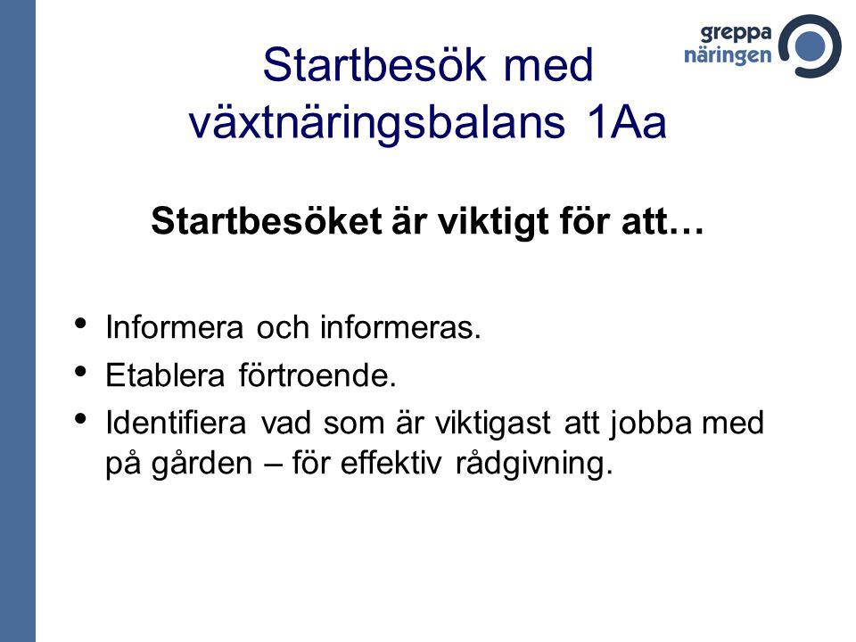 Startbesök med växtnäringsbalans 1Aa Startbesöket är viktigt för att… • Informera och informeras.
