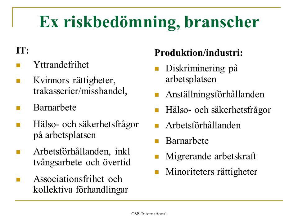 CSR International Ex riskbedömning, branscher IT:  Yttrandefrihet  Kvinnors rättigheter, trakasserier/misshandel,  Barnarbete  Hälso- och säkerhet